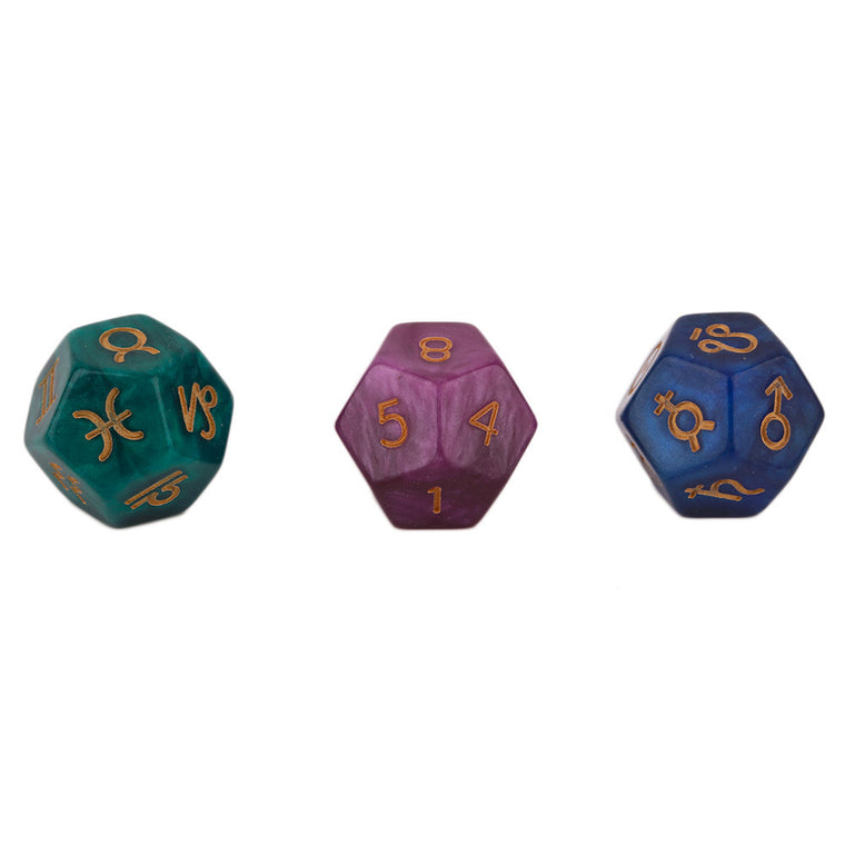 3 pcs 9 Polyhedral Dice Astrological Creative Dice Set Multi-Faceted Acrylic Dice for EZ Constellation Games