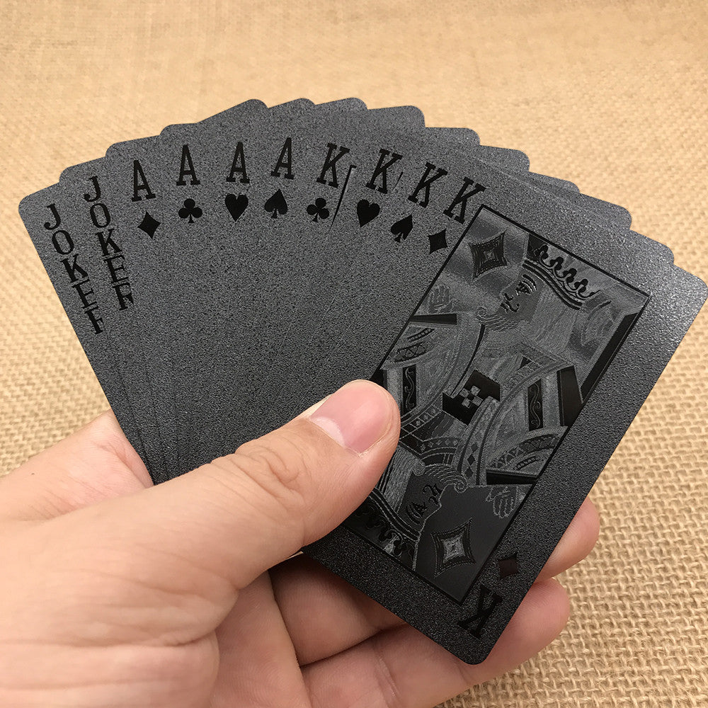 Limited Edition Waterproof Black Plastic Playing Cards Collection Black Diamond Poker Cards Creative Gift Standard Playing Cards
