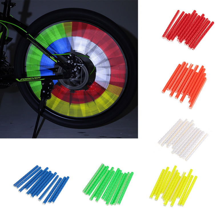 12pcs/pack 75mm Bike Riding Bicycle Wheel Rim Reflective Spoke Reflector Mountain Bike Night Warning Reflective Tube Stick