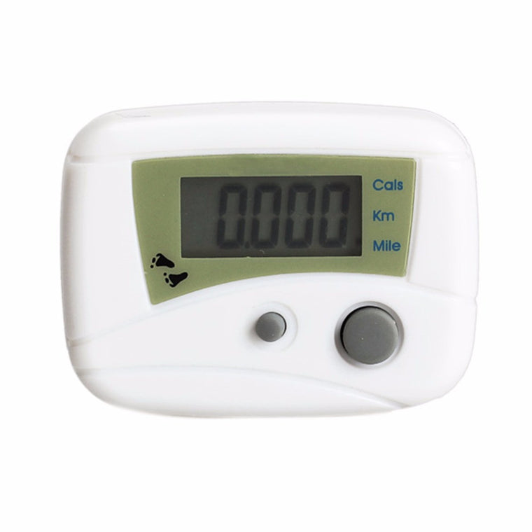 LCD Run Step Pedometer Walking Distance Calorie Counter Passometer White SS