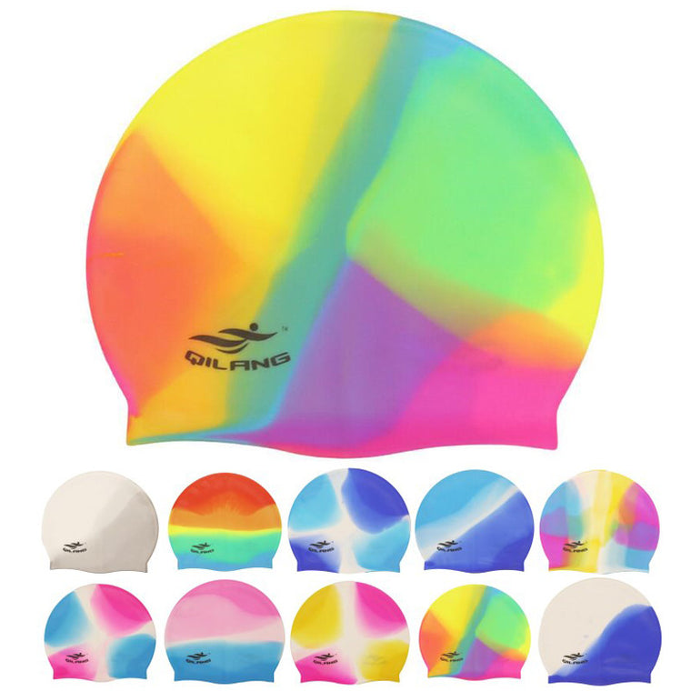 Women Men Ladies Rainbow Colorful Waterproof Silicone Ear Long Hair Protection Swim Pool Swimming Cap Swimwear Hats for Adults