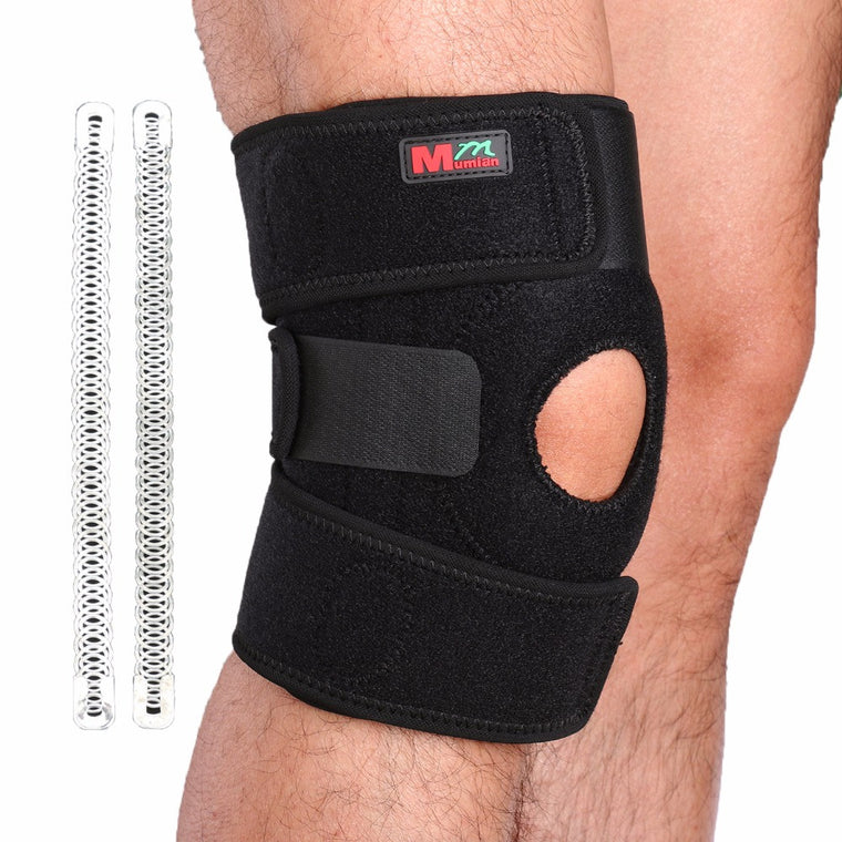 Adjustable Sports Leg Knee Support Brace Protector Knee Pads Sleeve Cap Patella Guard 2 Spring Bars,One Size,Black