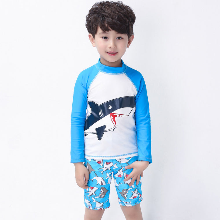 High Quality Boys Print Two pieces Swimwear Kids Long Sleeved Swimsuit Children Bathing Suit Beachwear with a cap for 2-15 Years