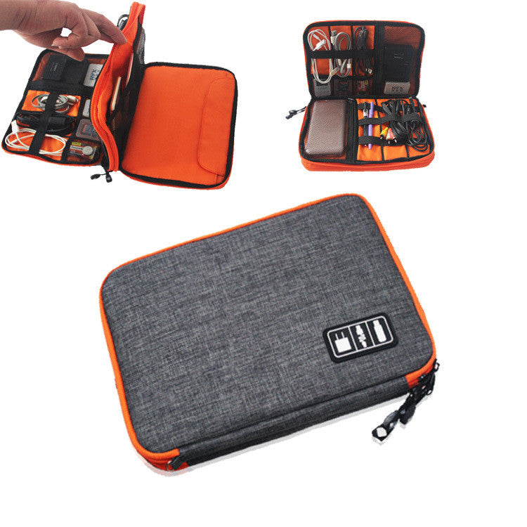 electronic fittings storage package for iPad data line package double layer elastic waterproof portable electronic storage bag