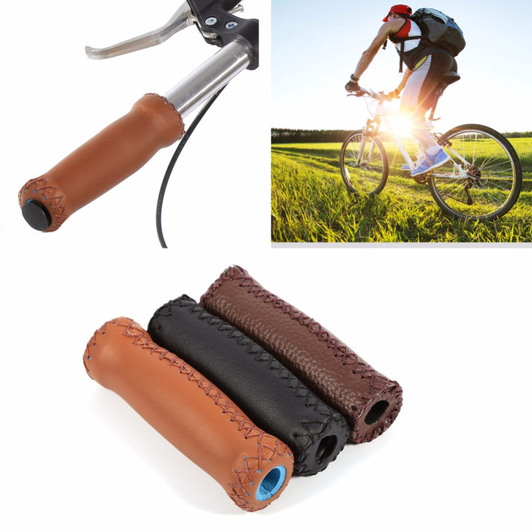 1 Pair Artificial Leather Bicycle Handlebar Grips Cover Anti-slip Bike Handlebar Grip 12.5cm Mountain Bike Grips