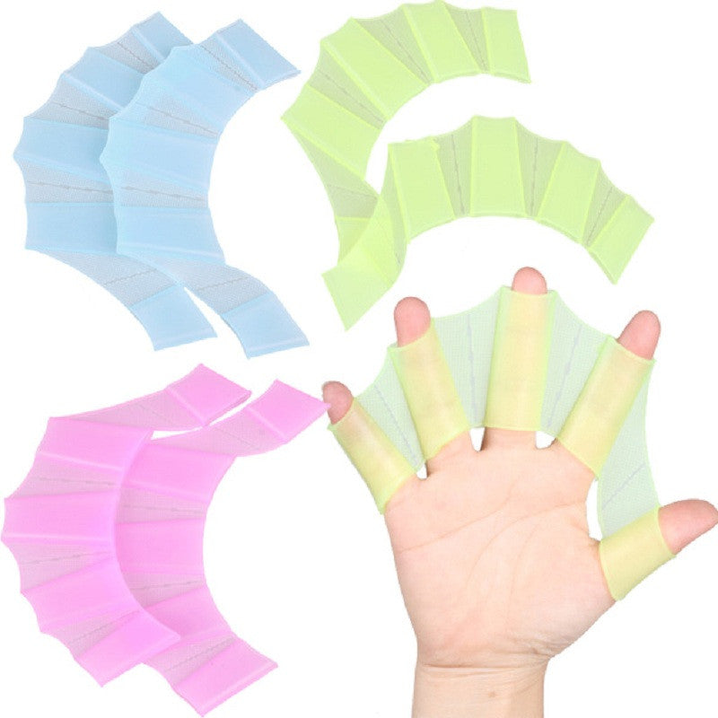 1 Pair Multi Size Soft Silicone Hand Swimming Fins Flippers Swim Palm Finger Web Webbed Gloves Training Paddle Dive 3 Colors