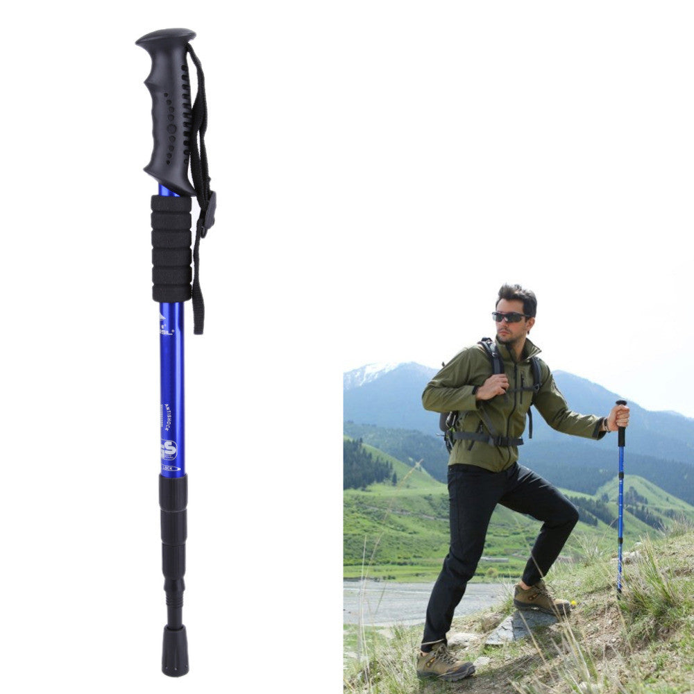 Aluminum Alloy Walking Stick Hiking Walking Trekking Trail Poles Ultralight 4-section Adjustable Hiking Stick FE5#