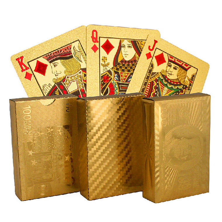 Golden Playing Cards gold foil poker set high quality with wooden box playing cards pokerstars party game