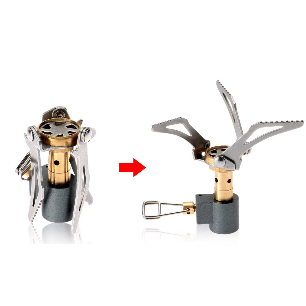 2Pcs 45g Lightweight Folding Mini Camping Stove Outdoor Gas Stove Survival Stove Pocket Cooking Burner 3000W Picnic Cooking