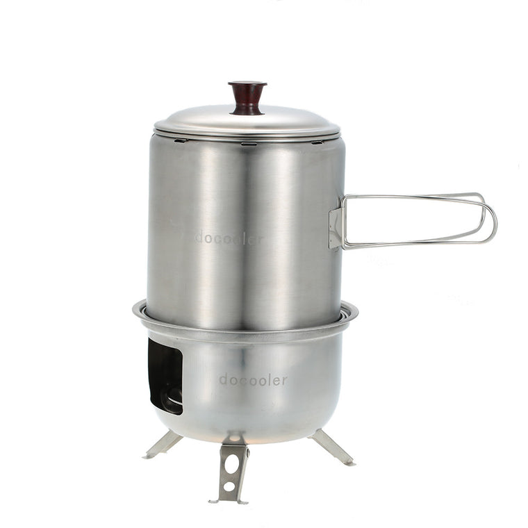Portable Stainless Steel Lightweight Wood Stove Solidified Alcohol Stove Outdoor Cooking Picnic BBQ Camping With Mesh Bag