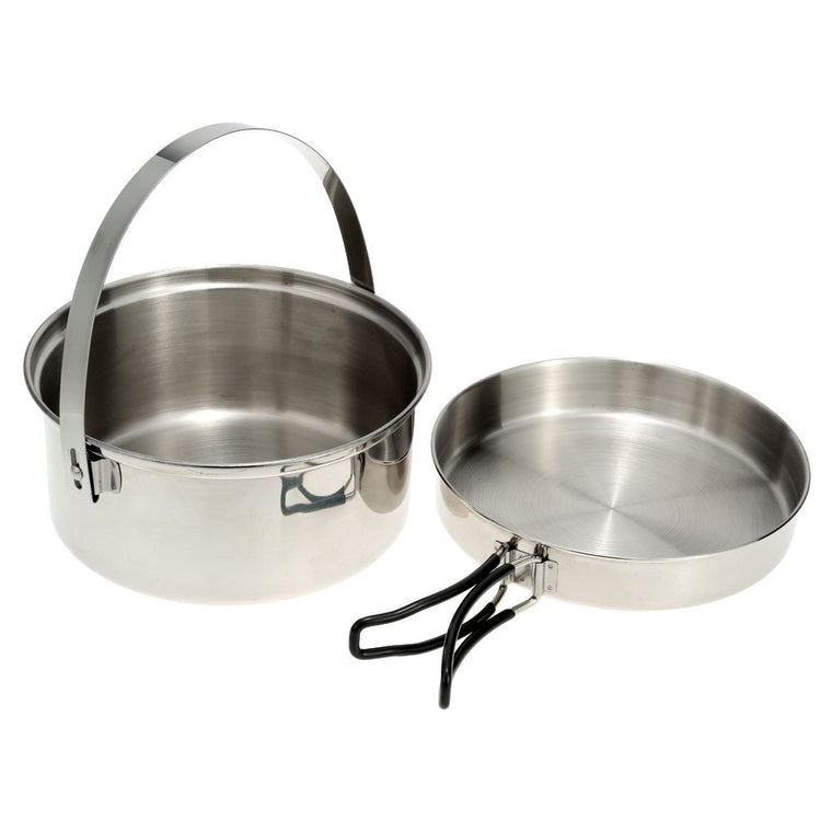 Camping Picnic Hiking Cook Cookware Cooking Pot Stainless Steel Pan Set Outdoor Activities Use Backpacking Survival Kit