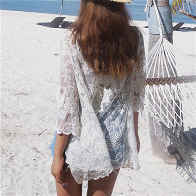 New Arrivals Sexy Beach Cover up Lace Swimwear Ladies Plage Pareo Beach Cape Women Beachwear Coverups Saida de Praia #Q139