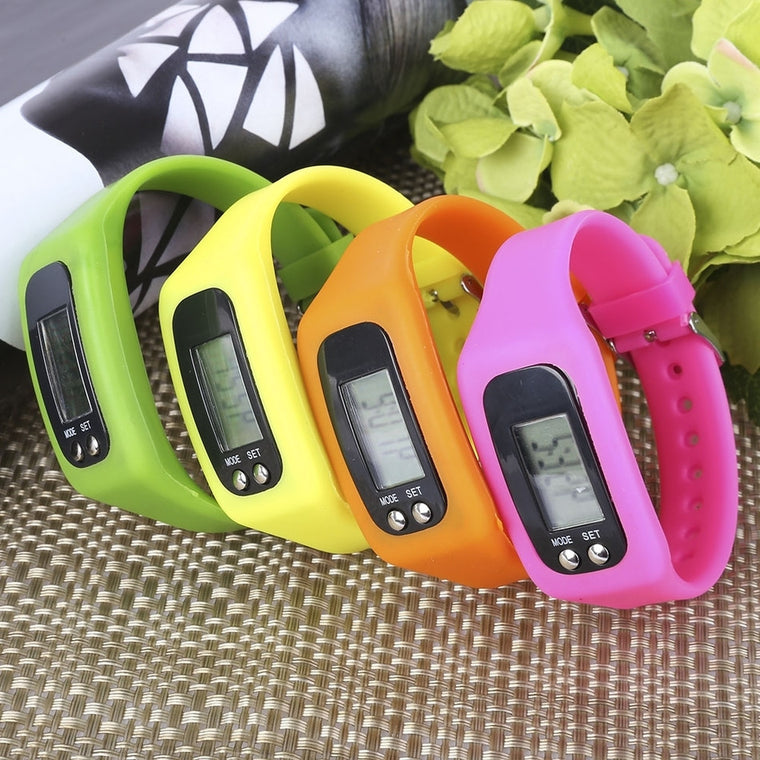 Digital Pedometer LCD Step Calorie Distance Electronic Counter Strap-hand Pedometer With Calorie Calculation Function
