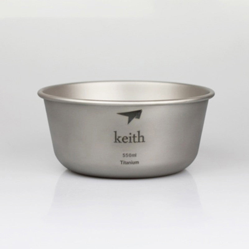 Keith 550ml Food Containers Single-wall Titanium Bowl Outdoor Camping Picnic Bowl Cookware 55g KT321 w/ Net Draw String Bag