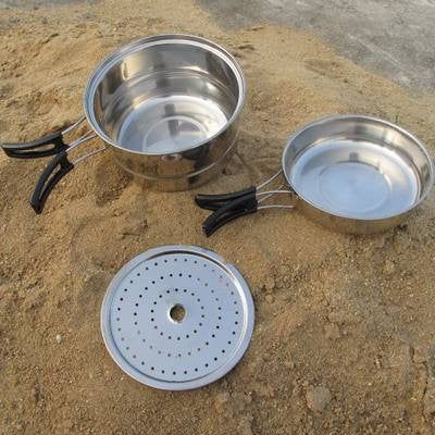 3pcs/set Outdoor Stainless Steel Pot Pans Bowls Foldable Handle 2 Person Picnic Portable Cookware  Outdoor Hiking Tableware