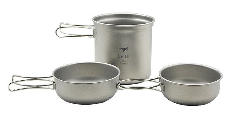 Keith Ti6052 Camping Cookware Outdoor Folding Pot Set Titanium Bowl 300+400+1200ml