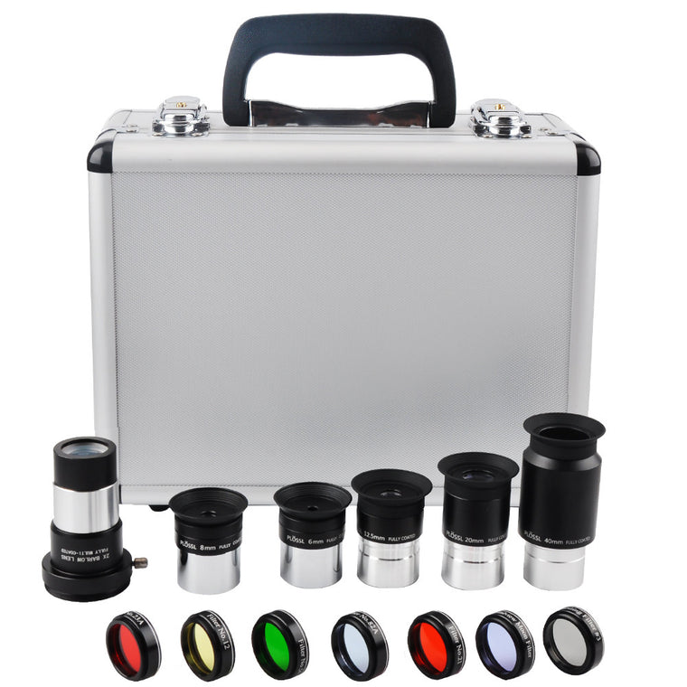 Astronomical Telescope Accessory Kit, 6mm/8mm/12.5mm/20mm/40mm/Plossl Eyepiece, 2X Barlow lens, Seven colors planetary filters