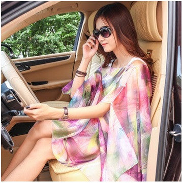 TOKITIND new summer chiffon printed loose cardigan shawl female thin beach Scarves scarf cardigan Chiffon sexy Bikini cover up