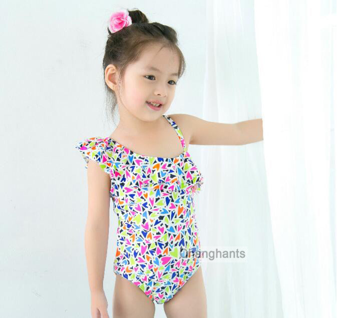 new model baby girls swimwear girl one piece colorful hearts pattern 2-7Y little girl swimsuit kid/children swimming Suit sw0625