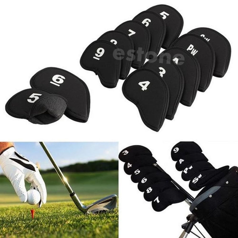 10pcs Black Golf Head Cover Club Iron Putter Head Protector Set Neoprene