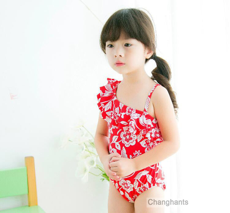 new model baby girl swimwear one piece classical flower pattern 2-7Y little girl girls swimsuit kid/children swimmingsuit sw0613