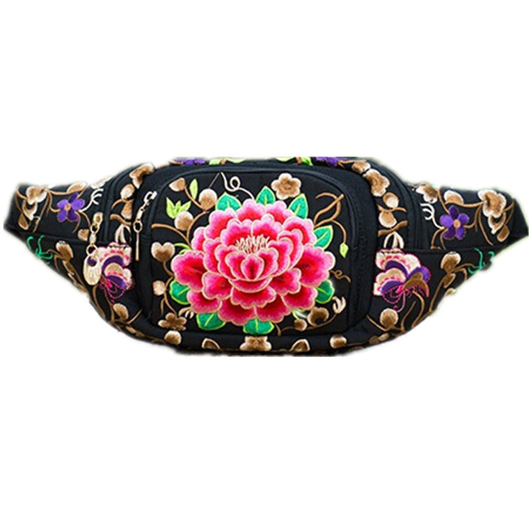 Chinese ethnic minority style flower embroidered waist bag with cellphone pouch multi-purpose dumpling shaped waist pack wallet