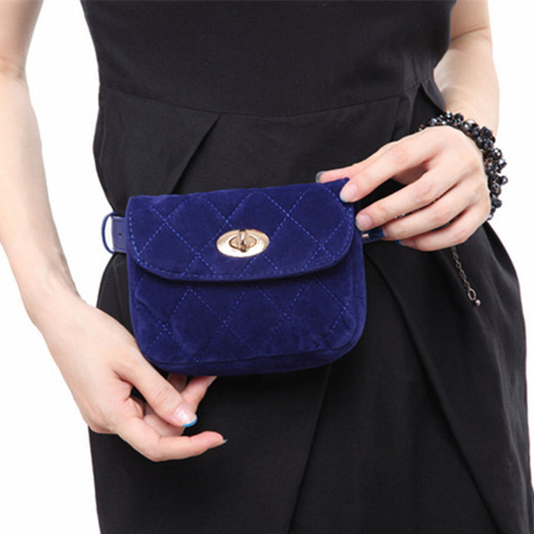 Fashion Waist Fanny Pack Belt Bag Pouch Velvet Lock Bag Travel Hip Bum Bag Womens Small Purse