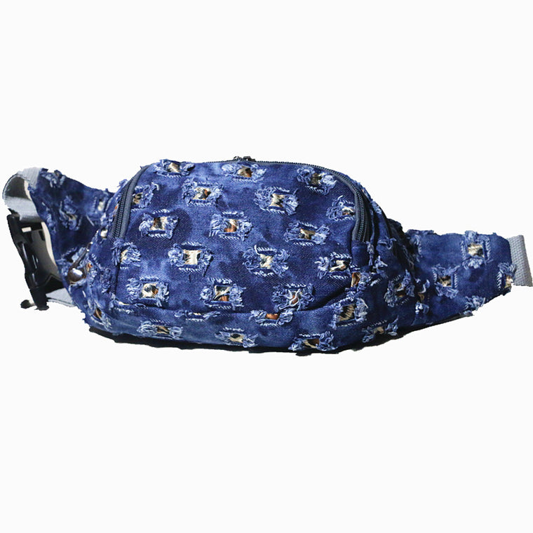Washed Blue Denim Fashion Casual Womens Waist Bag Easy Take Multi Purpose Canvas Vintage Waist Pack Walking Bag
