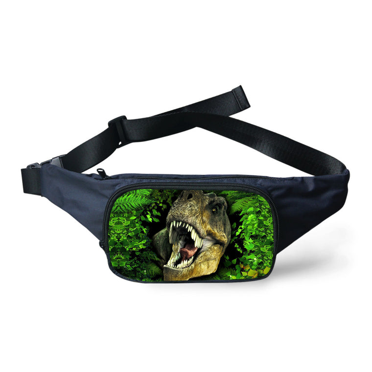 FORUDESIGNS New 3D Dinosaur Men Canvas Waist Bags Animal Tiger Women's Waist Bag Casual Waist Pack For Mobile Phone Small Bags