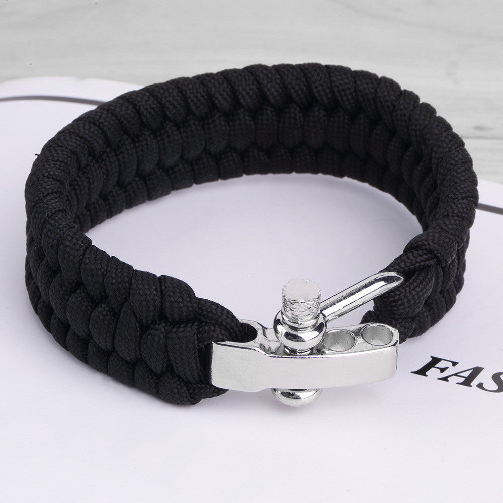 Black ParaCord Rope Outdoor Survival Bracelet Camping Steel Shackle Buckle Emergency first aid kit Wholesale new arrrival