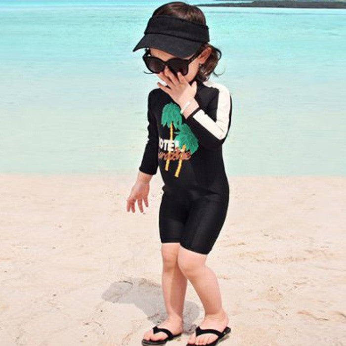 Bathing Suit High Neck Bodysuit One Piece Swimwear Girls Solid Color Swimsuit for Kids Black Beach Wear Long Sleeves Short Suit
