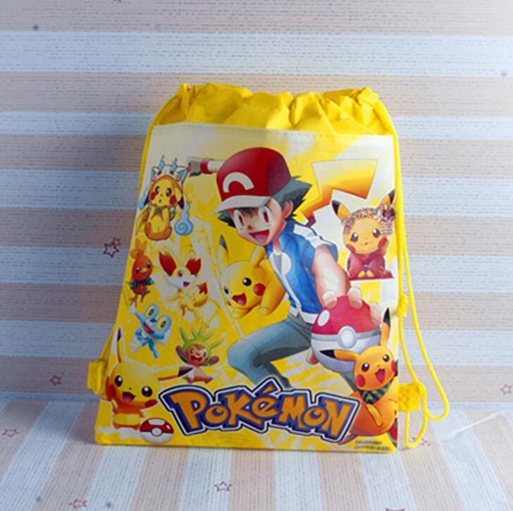 1pic Pikachu  Children School Bags cute cartoon Drawstring Backpack& Bag For Kids print Backpacks