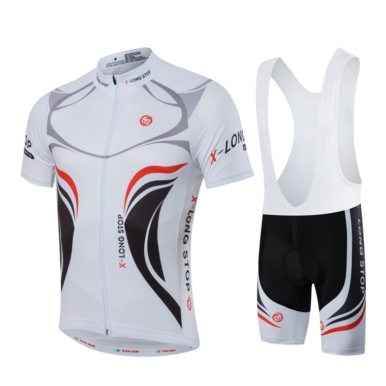 Hot SAIL SUN Men Bike Jersey Bib Shorts Black White MTB Team Cycling Jersey Top Summer Pro Bicycle Clothing  Bike Shirt