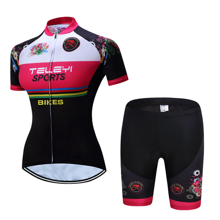 Teleyi Women Sports Cycling Jersey Short Sleeve Cycling Clothing Suit Bikes Wear (Bib) shorts Ropa Ciclismo Outdoor Sportwear