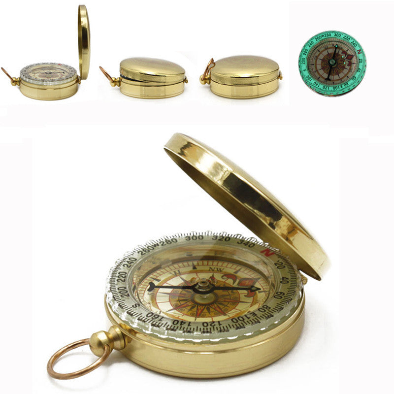 Classic Compass For Hiking Camping Travel Kit Brass Case Hanging Ring Type Brujulas De Bolsillo tourist pedestrian navigation