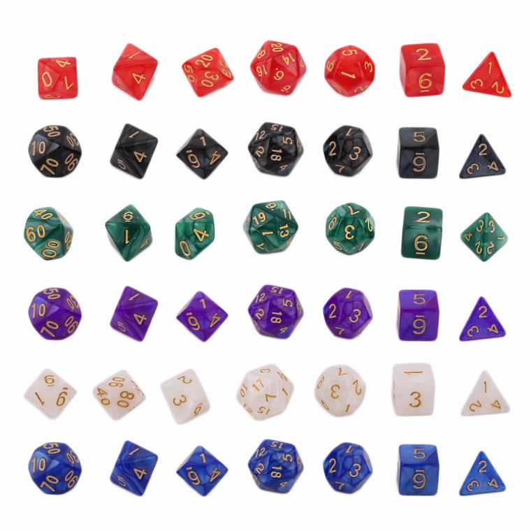 7 Pcs Set Bright Color Digital Dice Creative Multi-Faceted Pearl Gemmed Acrylic Dice 16-20mm D4 D6 D8 D10 D12 D20 Free Shipping
