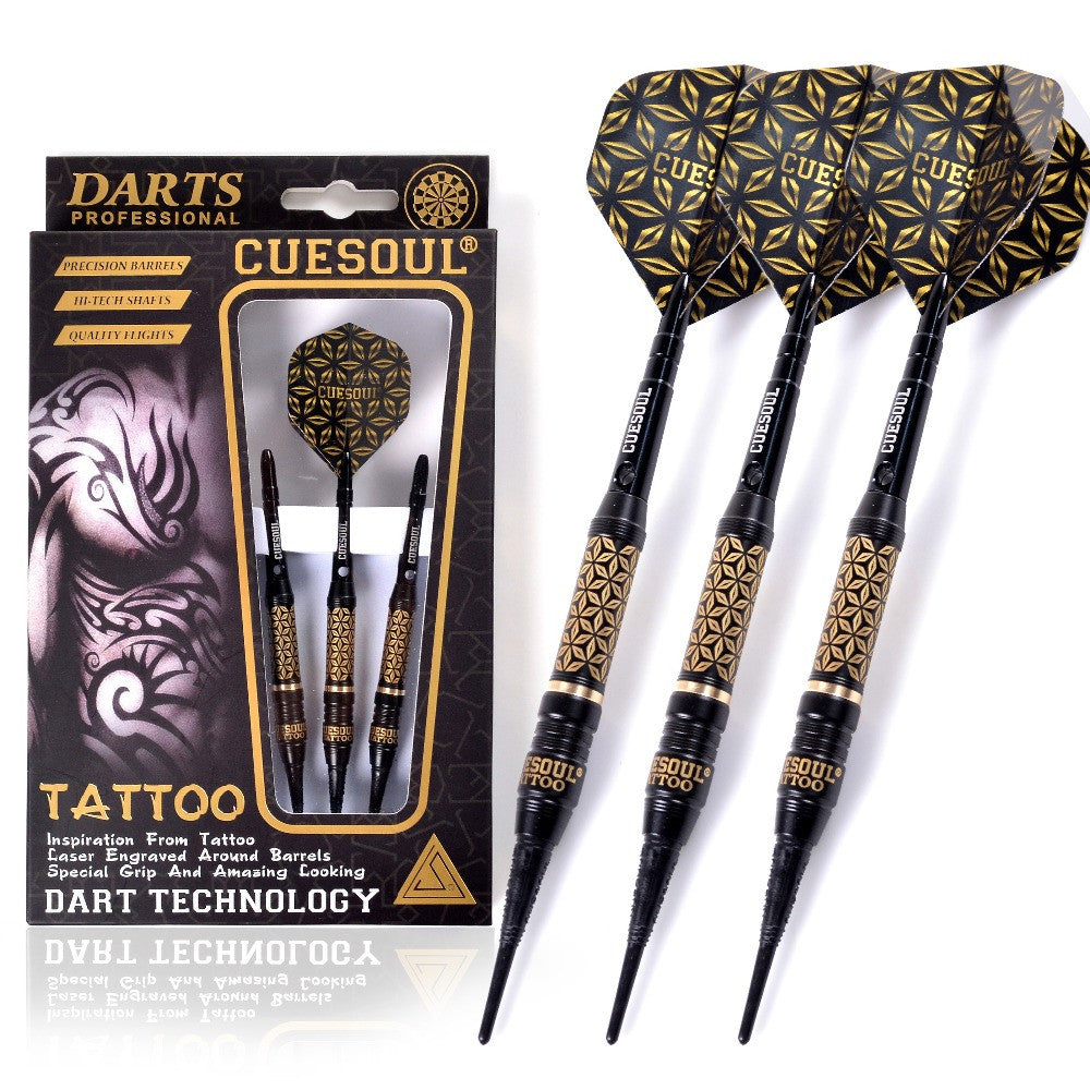 17g Black Coated Brass Soft Tip Darts,with Unique Pattern Engraved