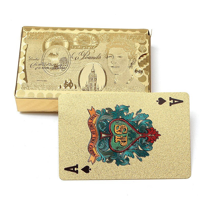 Gold Edition 24K Golden Playing Cards Deck Magic card Plastic Gold Foil Plated Poker Cards Waterproof