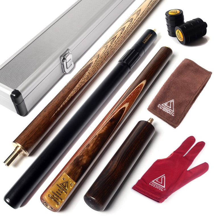 "57"" Snooker Cue Handcraft 3/4 Jointed with Mini Butt End Extension Packed in Aluminium Cue Case"