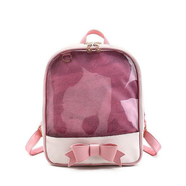 Summer Candy Color PVC Transparent Bow Backpacks Flower Zipper Women Clear Daily Patchwork Rucksacks Girls Jelly School Bag