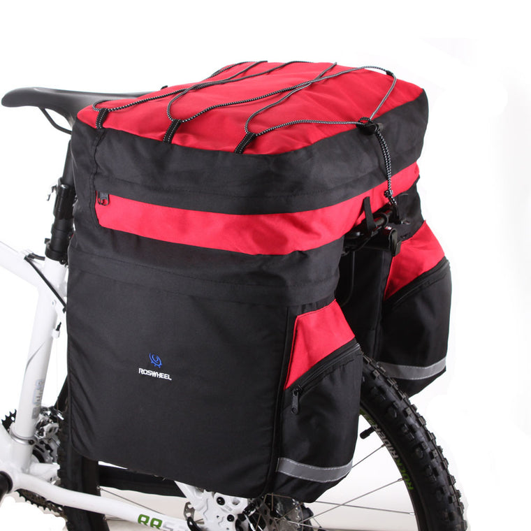 ROSWHEEL 60L Bicycle Basket Cycling Waterproof Bag Bike Double Side Rear Rack Tail Seat Trunk Bag Pannier With Rain Cover