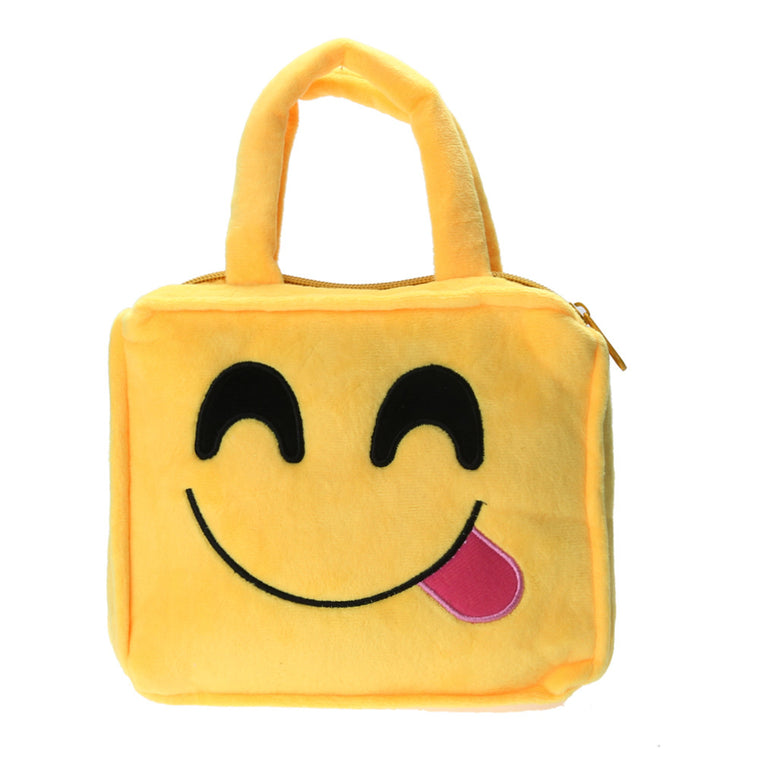 Fashion Emoji Face Expression Plush Toy Handbag Children Small Cute School Bag Ladies Top-Handle Bag Tote Bolsos Children Bag