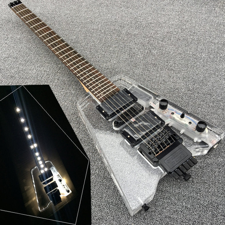 New Acrylic Headless Electric guitar, Fingerboard & Acrylic Body with LED light, 24Frets Guitarra, Black Hardware,Wholesale