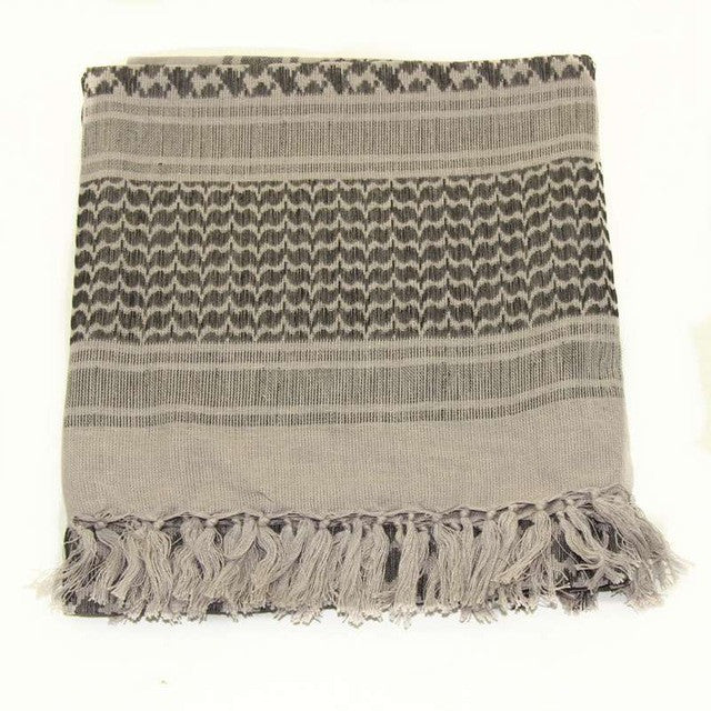 100% Cotton Grey Arab Keffiyeh Shemagh Scarf Military Tactical Scarves Thickened Hijab Square Windproof Bandanas