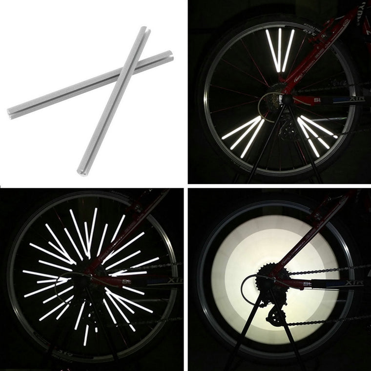 12pcs/set Bike Riding Bicycle Wheel Rim Reflective Spoke Mountain Warning Light Tube New Arrival Sale