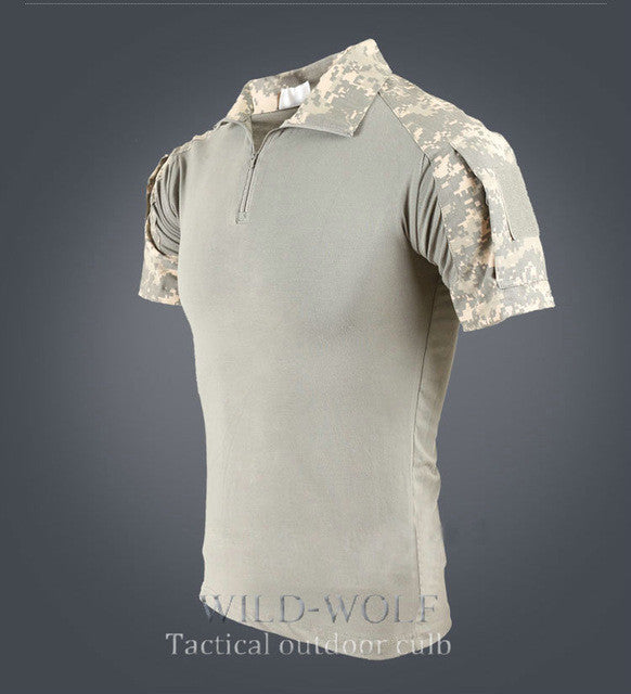 Men Tactical  Multicam Short T Shirt Camouflage Hunting Combat Shirt  SWAT Emerson Paintball Clothes Military Uniform