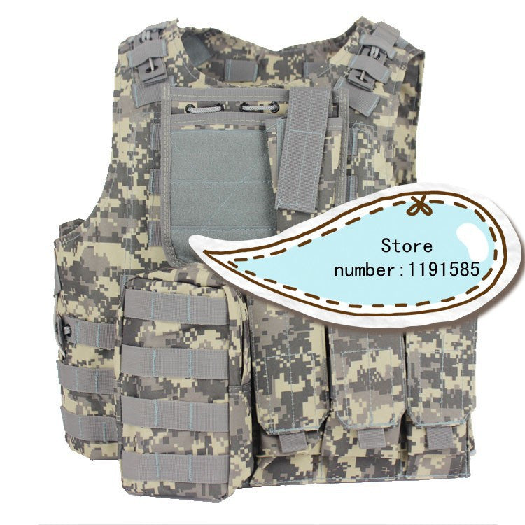 Amphibians Molle Quick Release Chest Rig Harness Tactical Airsoft Paintball Molle Vest W/ Triple 5.56mm Mag Pouch ACU