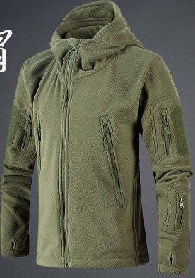 Army fans outdoor camping men fleece hooded cardigan sweater jacket stand colllar