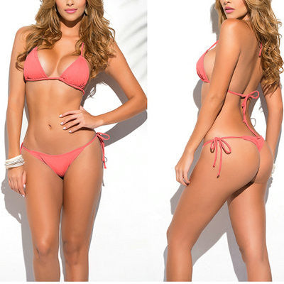 Coral Classic Thong Bikini Women's Swimsuit Summer Beach Solid String Bikinis Sexy Female Bathing Suit Multi Color Swimwear 1667