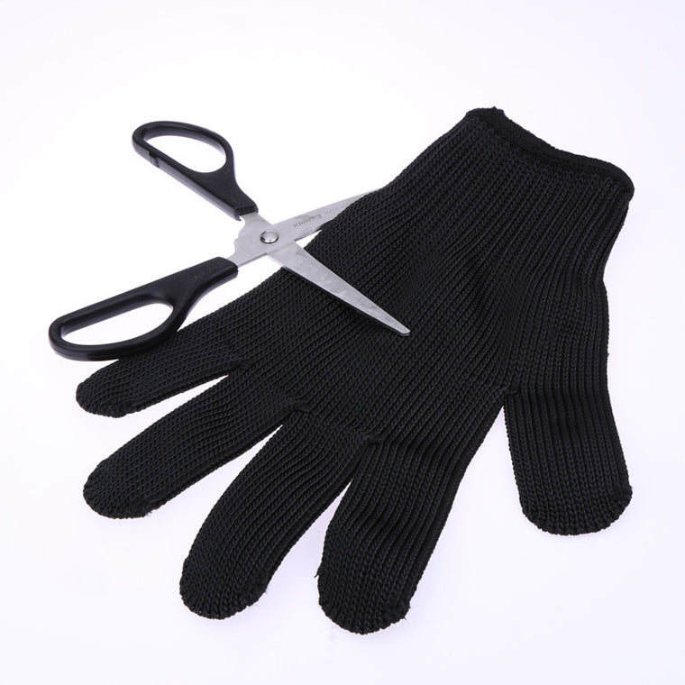 1 Pair Outdoor Hunting Fishing Gloves Cut Resistant Protective Knife Anti-slip Metal Mesh Anti-cutting Breathable Gloves